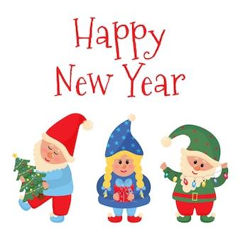 Gnomos de natal com letras de feliz ano novo. cartão de natal.