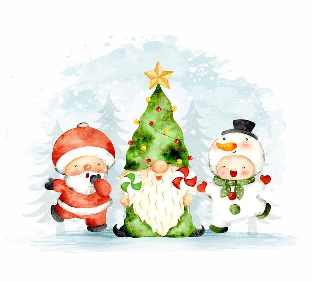 Gnomos de natal em aquarela com papai noel e boneco de neve