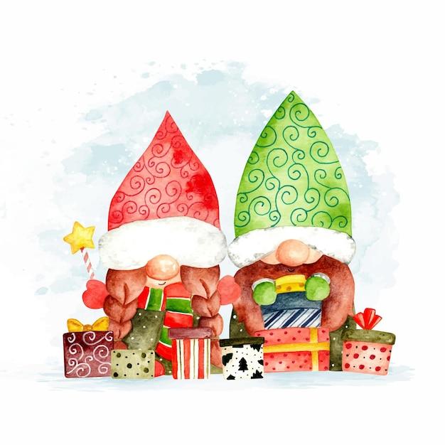 Gnomos de natal em aquarela com presentes