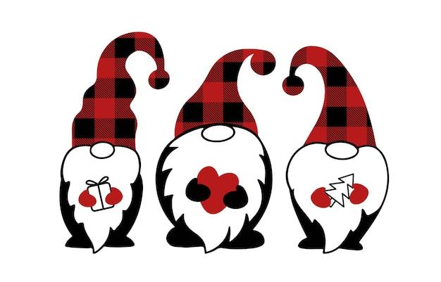 Gnomos de natal fofos em estampa de xadrez de búfalo isolada no fundo branco. símbolo de férias