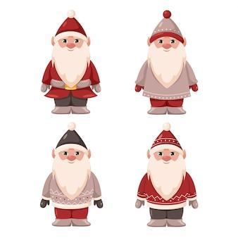Gnomos de natal personagens fofinhos e festivos com chapéus de natal e suéteres de terno cinza e vermelho