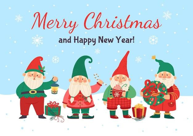 Gnomos desejando modelo de cartão de feliz natal