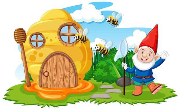 Gnomos e casa de favo de mel no estilo de desenho animado do jardim no fundo do céu