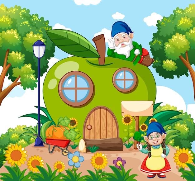 Gnomos e casa de maçã verde e no estilo de desenho animado do jardim no fundo do céu