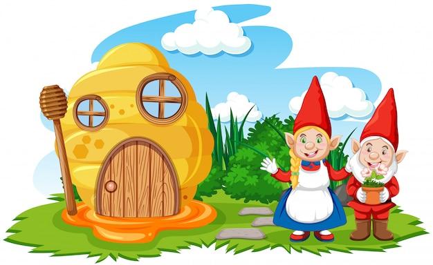 Gnomos e casa do favo de mel no estilo cartoon jardim no fundo do céu