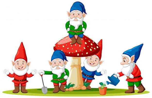 Gnomos e cogumelos em estilo cartoon sobre fundo branco