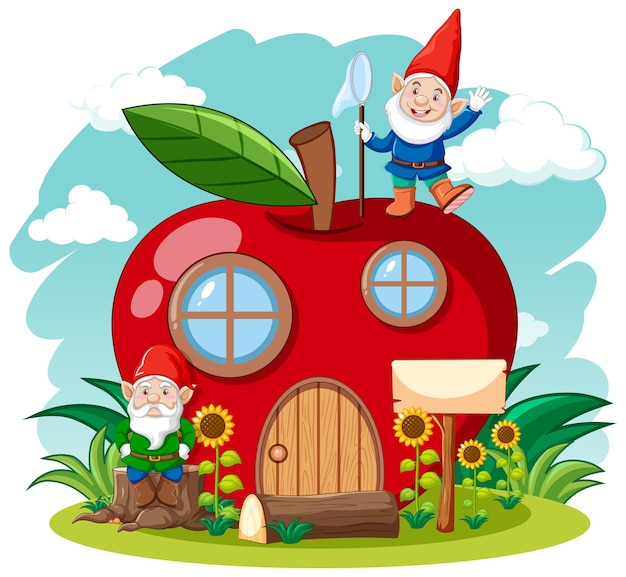 Gnomos e uma casa de maçã vermelha no céu