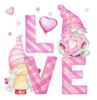 Gnomos fofos, letras, corações. clip-art em aquarela, no estilo cartoon, sobre um fundo isolado, para o feriado, dia dos namorados.