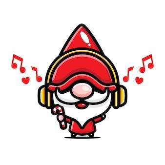 Gnomos fofos ouvindo música