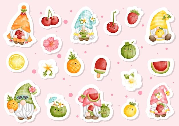 Gnomos frutados em aquarela, adesivo de gnomos de verão