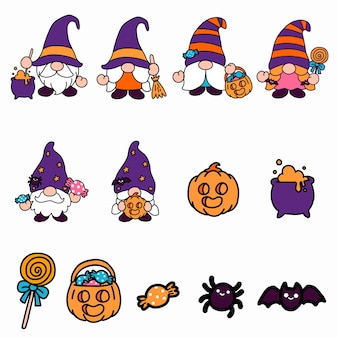 Gnomos halloween clipart, evento de feiticeiro e bruxa