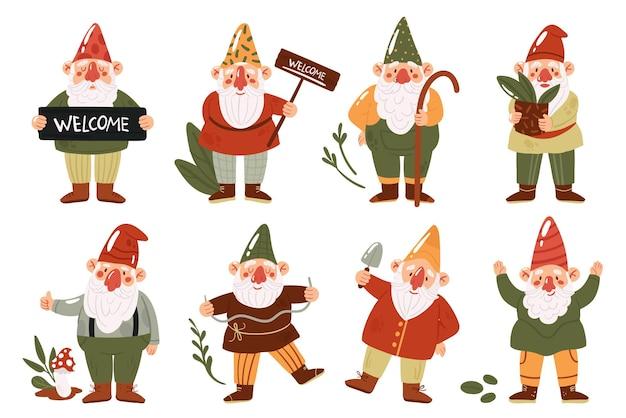 Gnomos ou anões de jardim fofos definem personagens de contos de fadas engraçados com uma coleção de chapéus