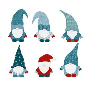 Gnomos pequenos escandinavos de natal gnomo anão com um chapéu de papai noel de ano novo. conjunto de mão plana de desenho animado