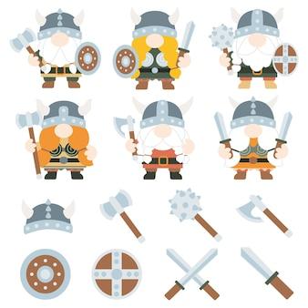 Gnomos vikings guerreiro masculino e feminino ilustrações vetoriais.