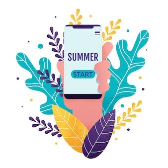 Go-of summer season cartão de motivação dos desenhos animados