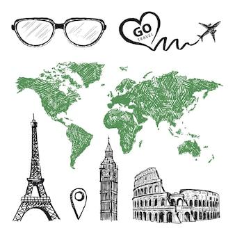 Go travel mapa do mundo o avião desenhou um coração torre eiffel coliseu estilo grunge