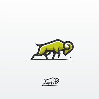 Goat ram goat ram ilustração logo design vector template