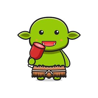 Goblin bonito comendo carne cartoon ícone ilustração. projeto isolado estilo cartoon plana