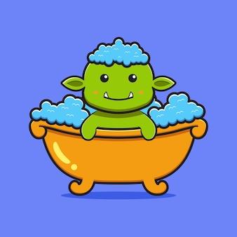 Goblin bonito tome um banho de ilustração do ícone dos desenhos animados. projeto isolado estilo cartoon plana