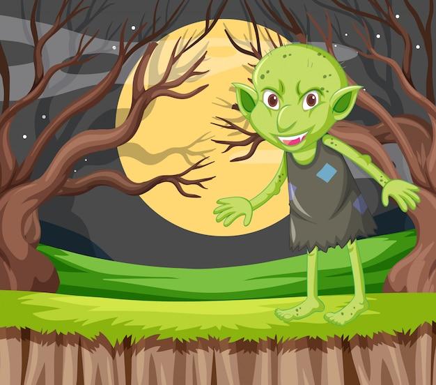Goblin em pé em um personagem de desenho animado no fundo