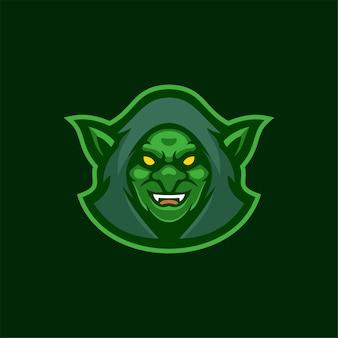 Goblin head cartoon logo template ilustração esport logo gaming premium vector