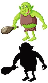 Goblin ou troll em cores e silhueta em personagem de desenho animado em branco