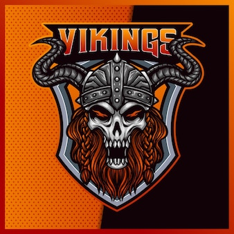 God odin viking esport e design do logotipo do mascote do esporte
