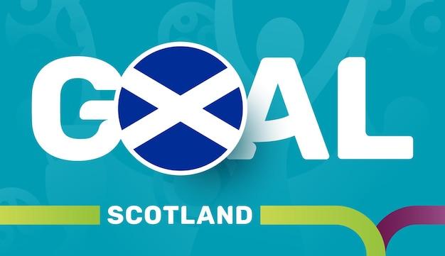 Gol da bandeira e do slogan da escócia sobre fundo do futebol europeu de 2020