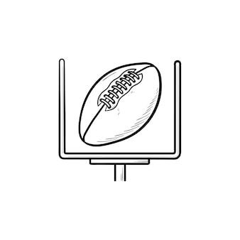 Gol de futebol americano e ícone de doodle de contorno desenhado de mão de bola. campeonato de futebol, conceito de field goal