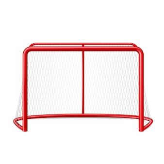 Gol realista de hóquei no gelo com rede para o goleiro esporte de equipe de inverno