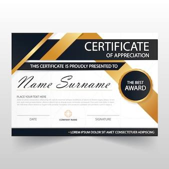 Gold Black ELegant certificado horizontal com ilustração do vetor