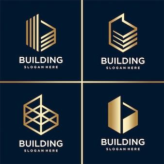 Gold building logo collection, dourado, moderno, conceito, gradiente, imobiliário, premium