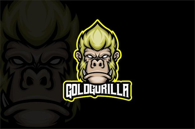 Gold gorilla - modelo de logotipo esport