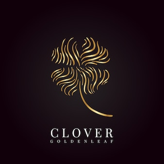 Golden 4 leaf clover logo