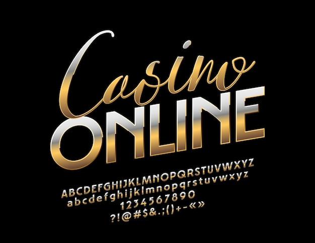 Golden casino online font luxo elegante alfabeto letras números e símbolos