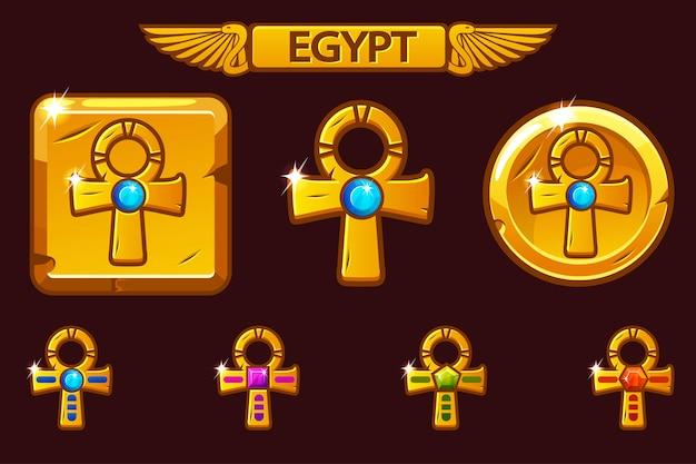 Golden cross ankh com gemas preciosas coloridas. ícones egípcios