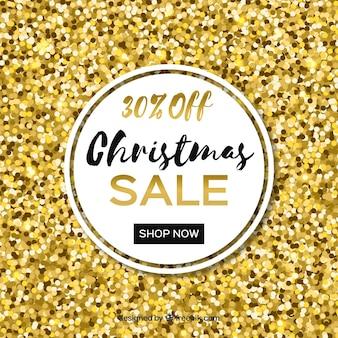 Golden glitter background para vendas de natal