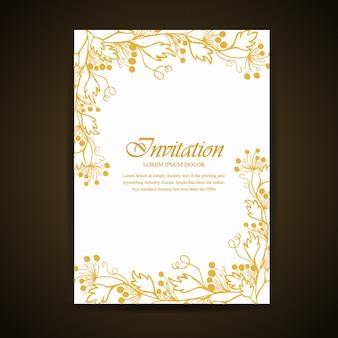 Golden hand drawn floral e folhas de cartão de convite