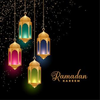 Golden lanternas islâmicas coloridas fundo de ramadan kareem