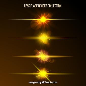 Golden lens flare divisor coleção