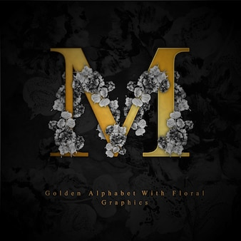 Golden letter m watercolor floral background