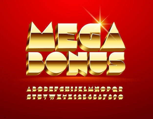 Golden mega bonus. fonte 3d de luxo. letras, números e símbolos do alfabeto elite majestic