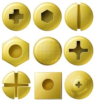 Golden nailheads em nove estilo diferente