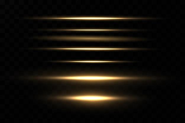 Golden neon line light effect vector laser