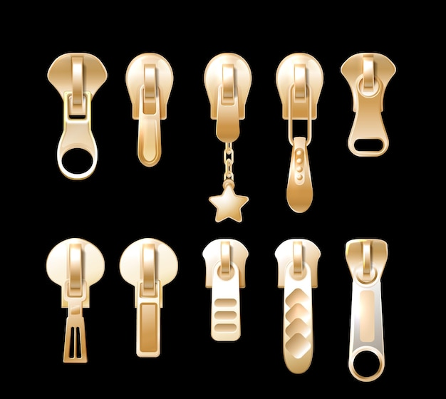 Golden puxa. componentes de roupas de metal