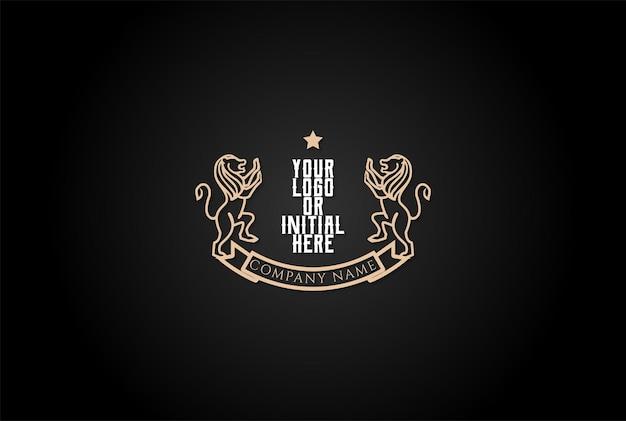 Golden royal classic blank lion shield frame emblema emblema logo design vector