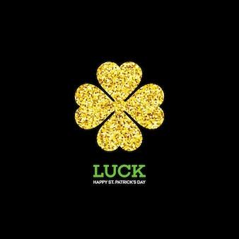 Golden shamrock. patrick day simbol. ilustração