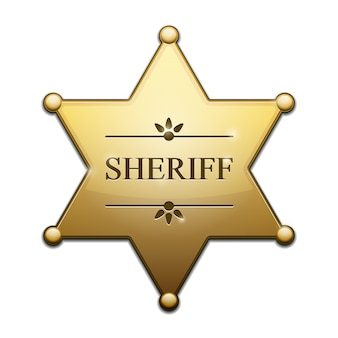 Golden sheriff star isolado