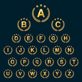 Golden star laurel wreath. ícone do logotipo da coroa de louro com letras do alfabeto capitão. design dos elementos do modelo - letra a a z.