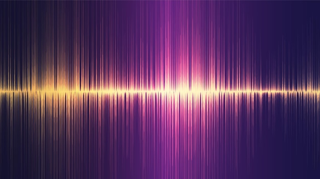 Golden ultrasonic sound wave background, tecnologia e conceito de diagrama de onda de terremoto, design para estúdio de música e ciência.